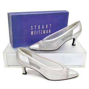 Stuart Weitzman Silver Mesh & Leather Pumps